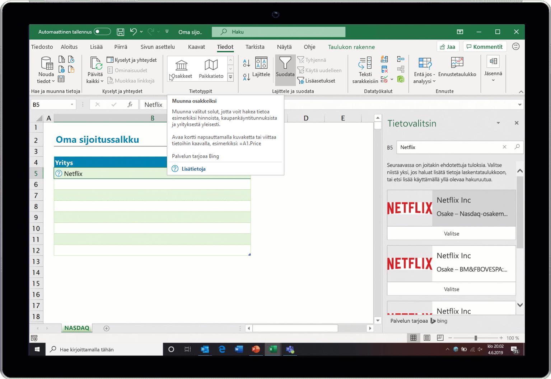 Näyttökuva Osakkeet-tietotyypin toiminnasta Excelissä.