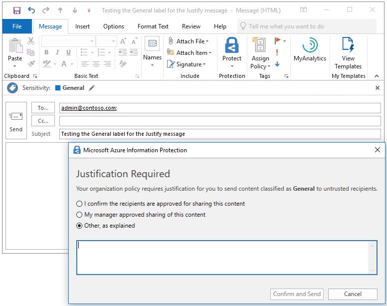 Näyttökuva Microsoft Azure Information Protection -toiminnosta, joka vaatii perustelut luokiteltua sähköpostia varten.