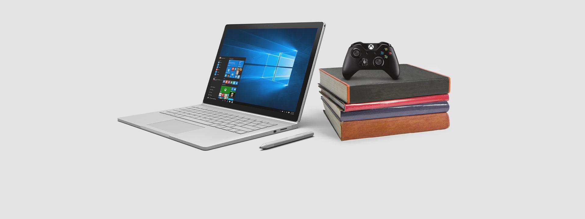 SurfaceBook avec une manette Xbox, en savoir plus sur notre offre d'une durée limitée