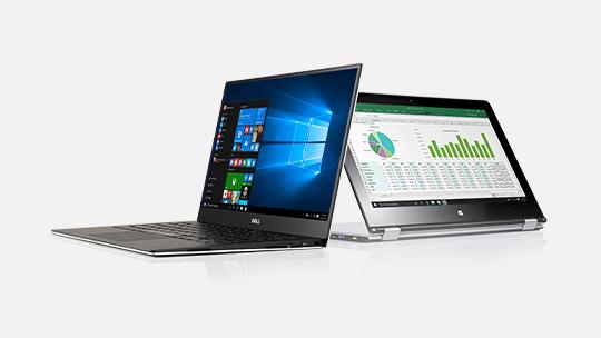 Deux PC Windows10 sur un fond blanc