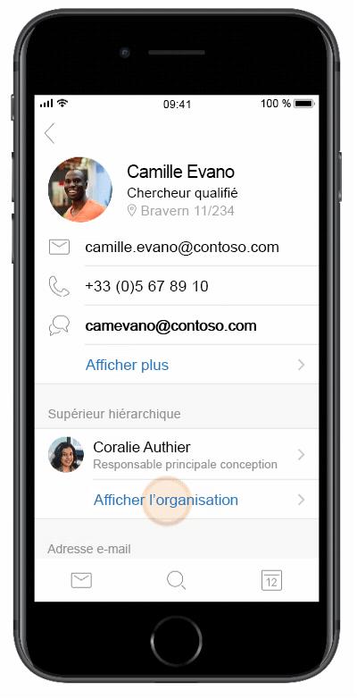 Rapidement Votre Contact Cle Ouvrir Sa Carte De Visite Et Consulter Les Informations Relatives A Son Organisation Disponible Dans Outlook Pour IOS