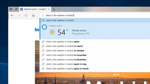 Image d\'écran de Cortana indiquant la météo à Madrid dans le navigateur Microsoft Edge
