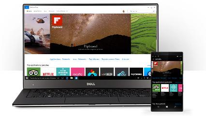 Un PC Windows 10 affichant des applications sur le Windows Store