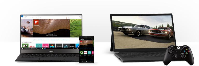 Un PC Windows 10 affichant des applications sur le Windows Store et un PC Windows 10 affichant l'application Xbox sur Windows avec une manette Xbox