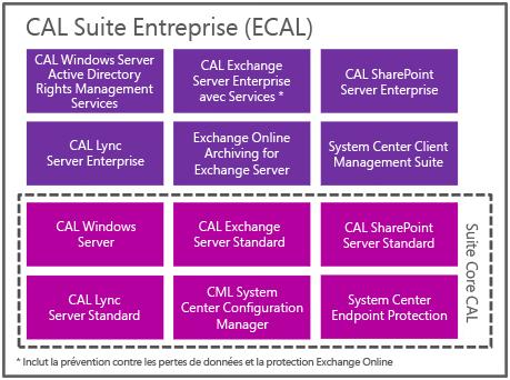 Technologies des CAL Suite Microsoft
