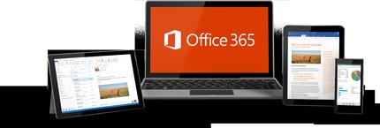 Un smartphone, un écran d'ordinateur de bureau et une tablette affichant Office365 en cours d'utilisation.