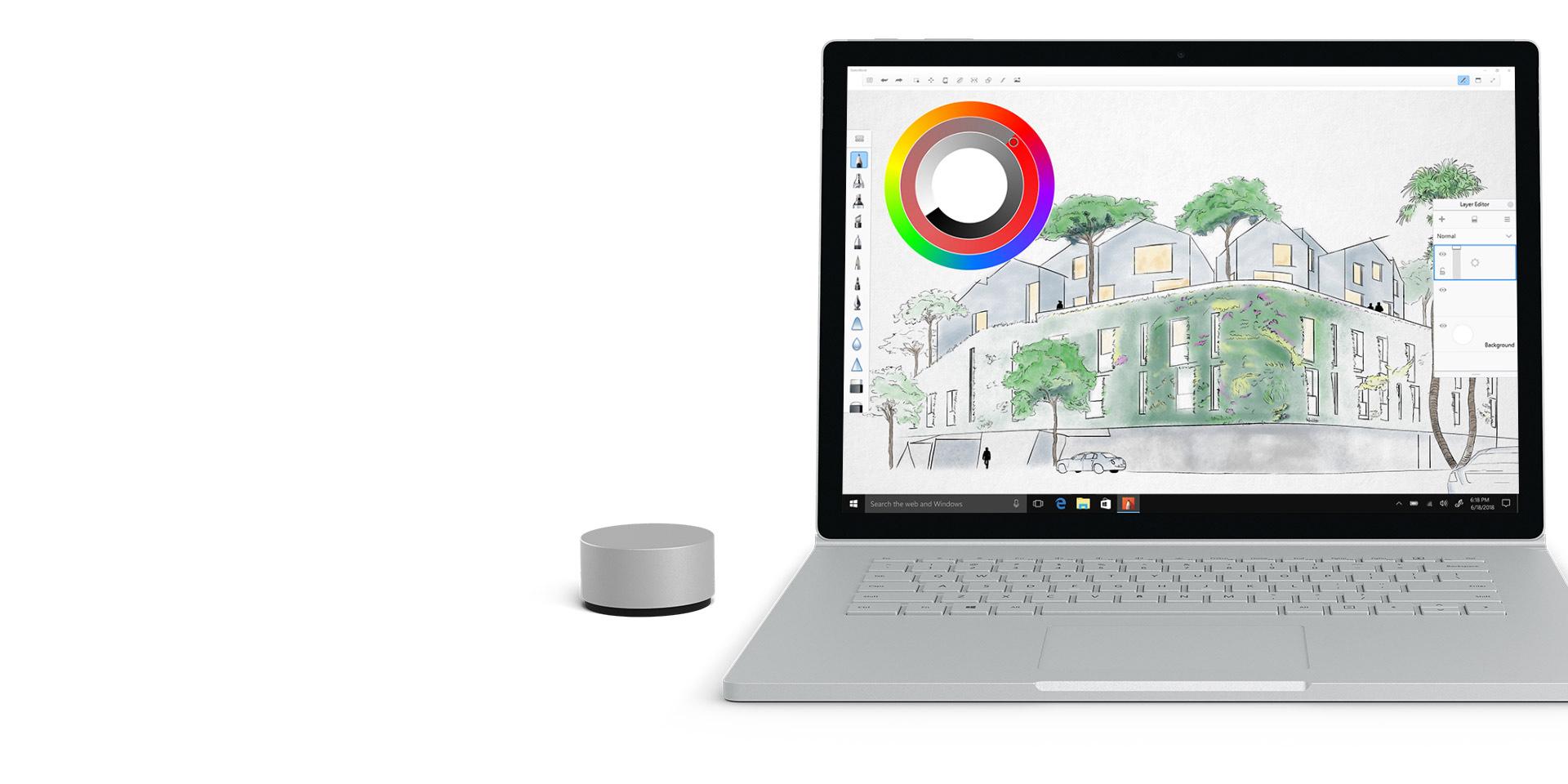 Autodesk SketchBook sur l'écran d'un Surface Book 2
