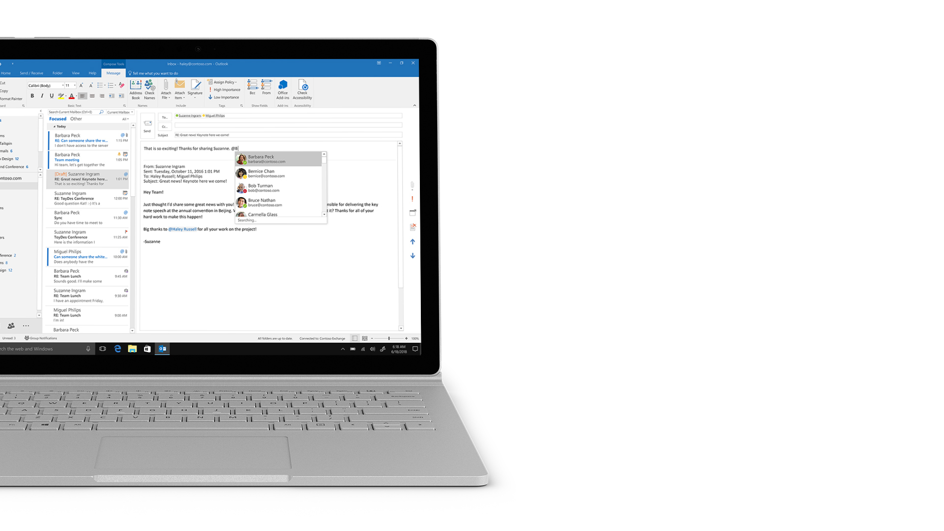 Capture d'écran Outlook sur Surface.