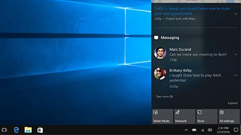 Centre de notifications Windows10