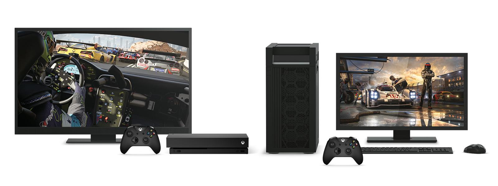 Xbox OneX et un appareil de bureau en 4K avec Forza Motorsport7 sur une télévision et un écran d'ordinateur