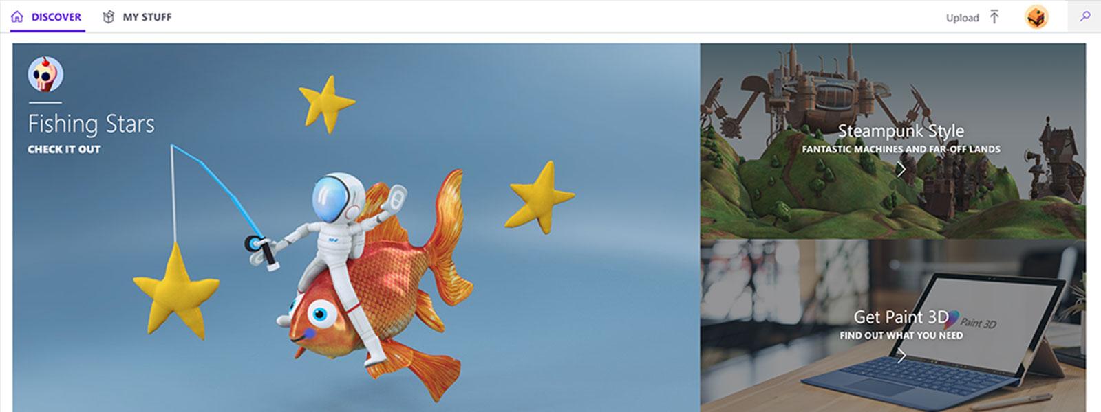 Image Windows Paint3D Pêche étoiles