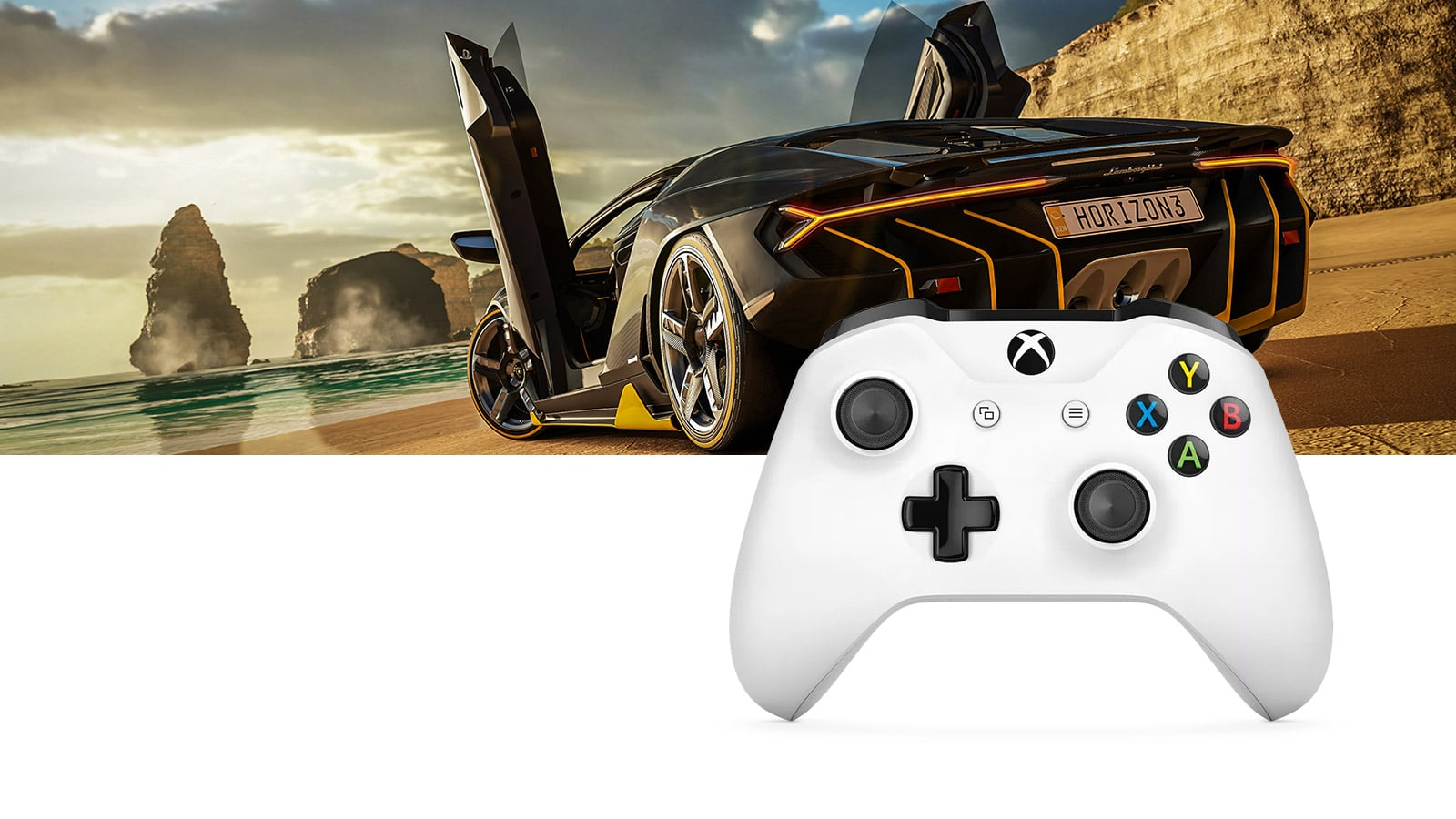 Forza sur Xbox et manette blanche