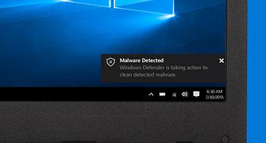 Un écran avec une notification indiquant qu'un logiciel malveillant a été détecté