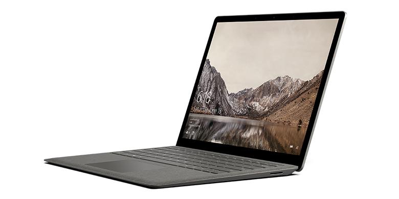 Vue de gauche du SurfaceLaptop en or minéral