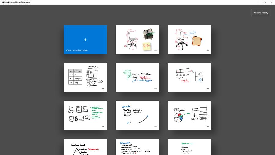 Image d'une collection de tableaux blancs collaboratifs Microsoft.