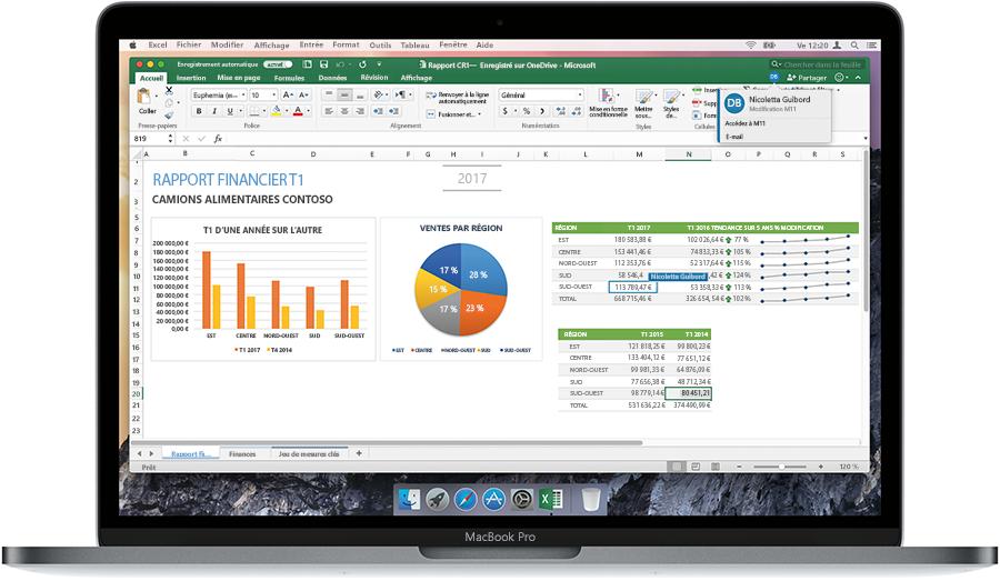 Image d'un ordinateur portable ouvert, affichant un rapport financier dans Excel.