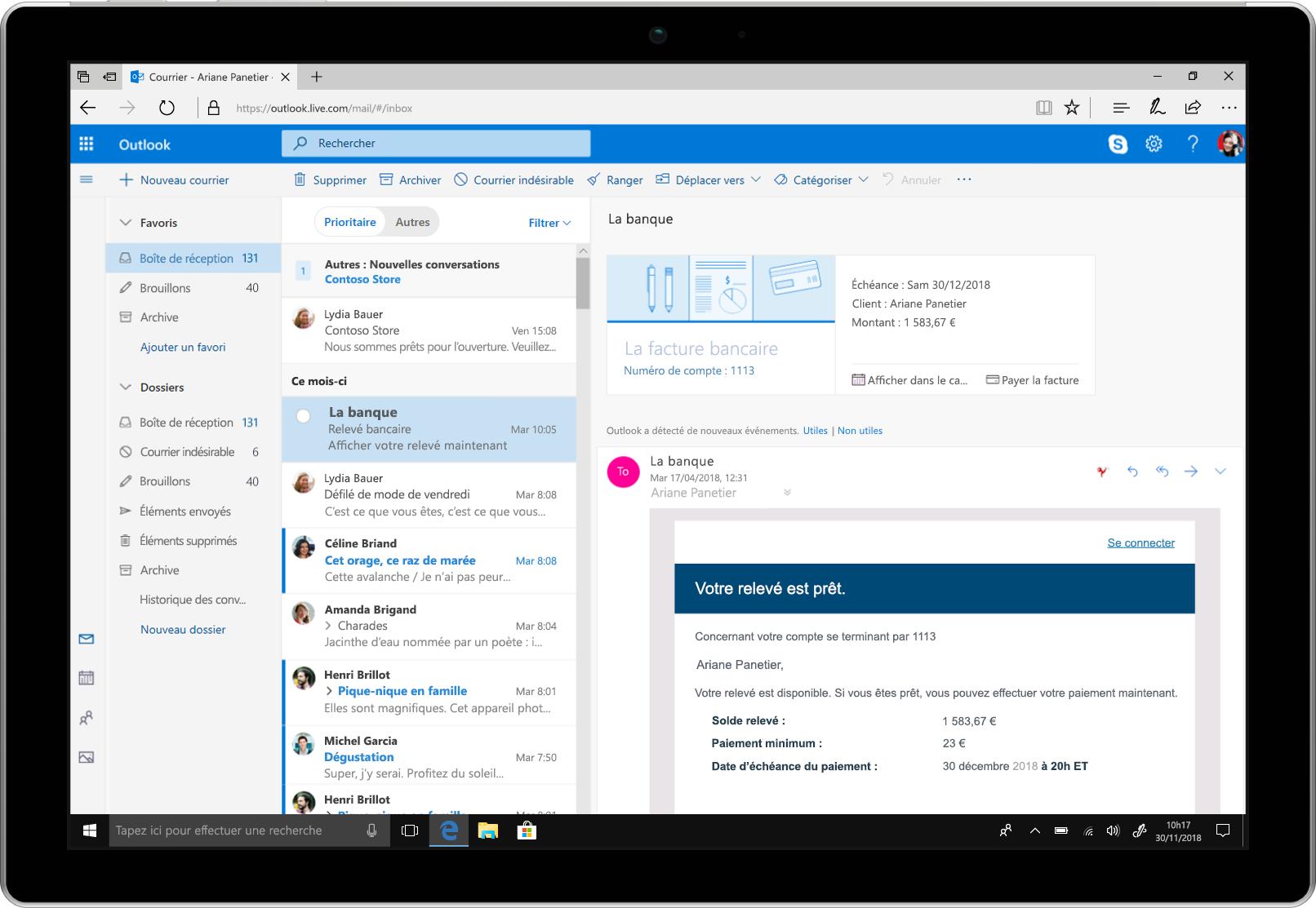 Tablette affichant des rappels de paiement de factures dans Outlook