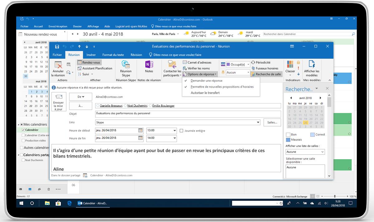 Tablette affichant les Options de réponses pour une demande de réunion dans Outlook.