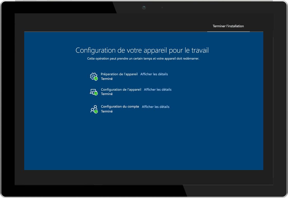 Image d'une tablette affichant la page d'état d'inscription de Windows AutoPilot