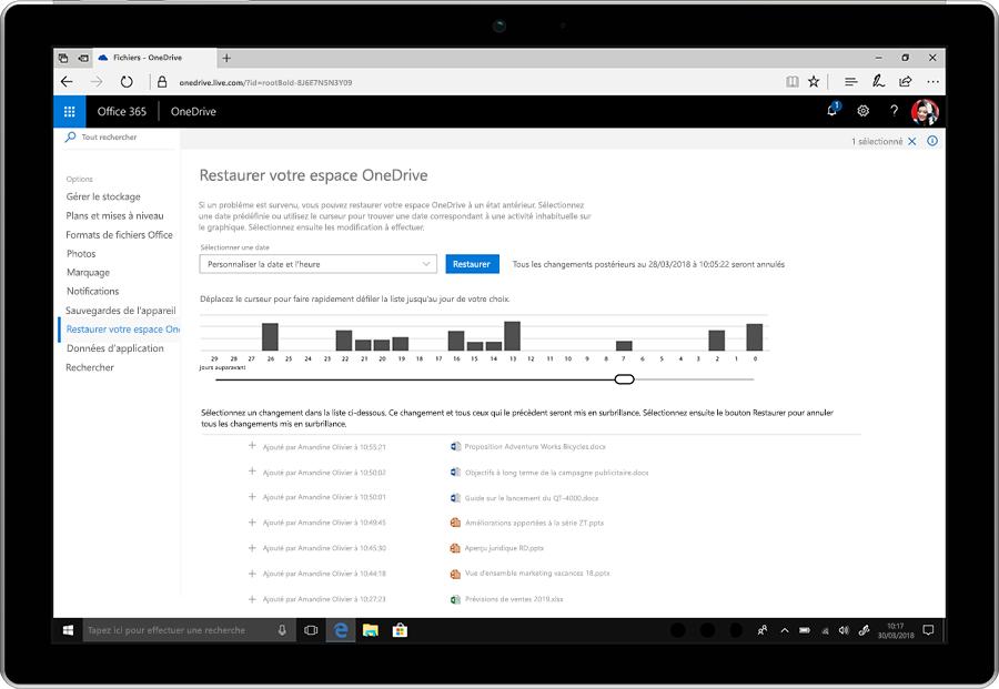 Capture d'écran affichant la fonctionnalité de restauration de fichiers de OneDrive.
