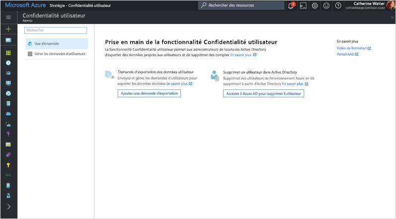 Capture de l'écran «Prise en main de la Confidentialité de l'utilisateur» dans Azure Directory.