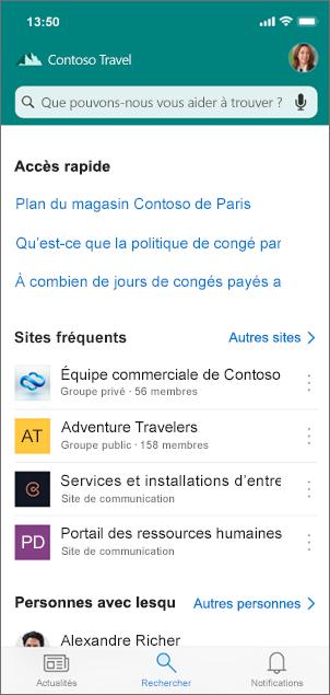 Capture d'écran de l'onglet Rechercher dans SharePoint.