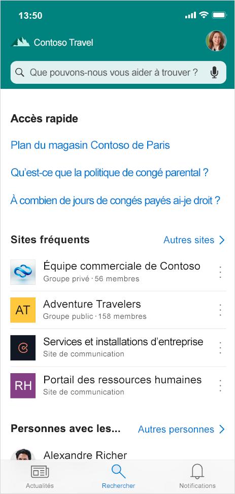 Cette image présente l'onglet Rechercher introduit dans l'application mobile SharePoint, qui vous permet de trouver des personnes, du contenu et des réponses à vos questions lorsque vous êtes en déplacement.