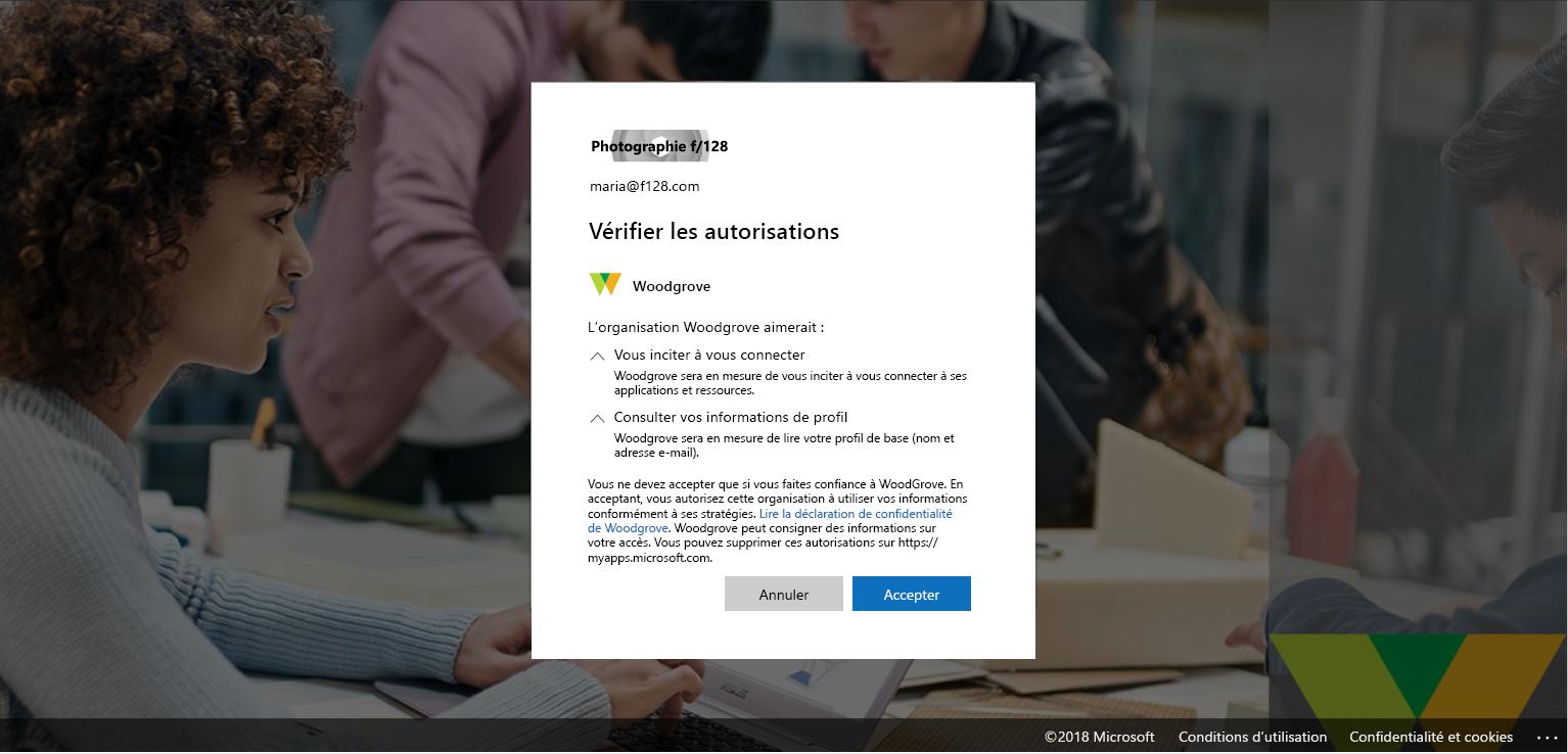 Capture d'écran de l'onglet Révision des autorisations dans Azure Active Directory.