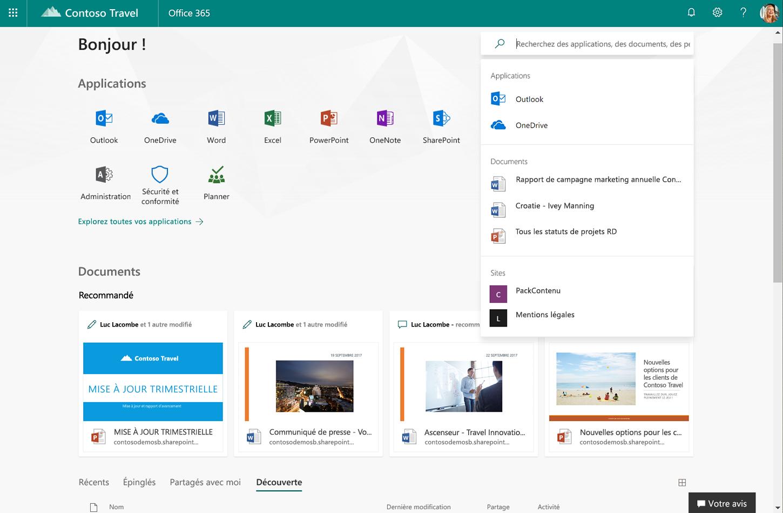 Capture d'écran du nouveau site Office.com.