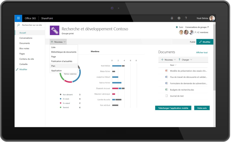 Capture d'écran d'un plan du Planificateur dans SharePoint.