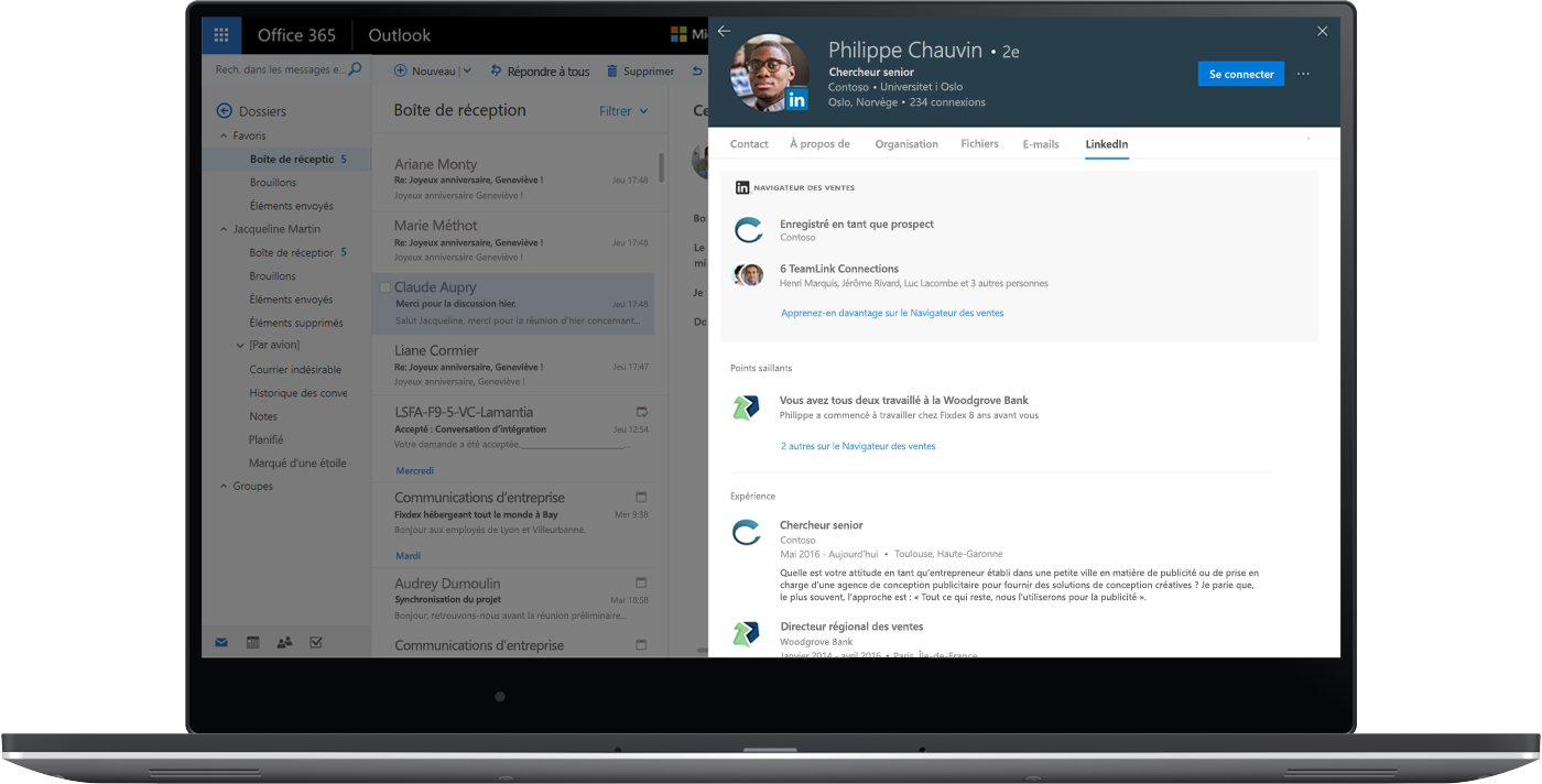 Capture d'écran des informations LinkedIn Sales Navigator directement dans Outlook pour le web.