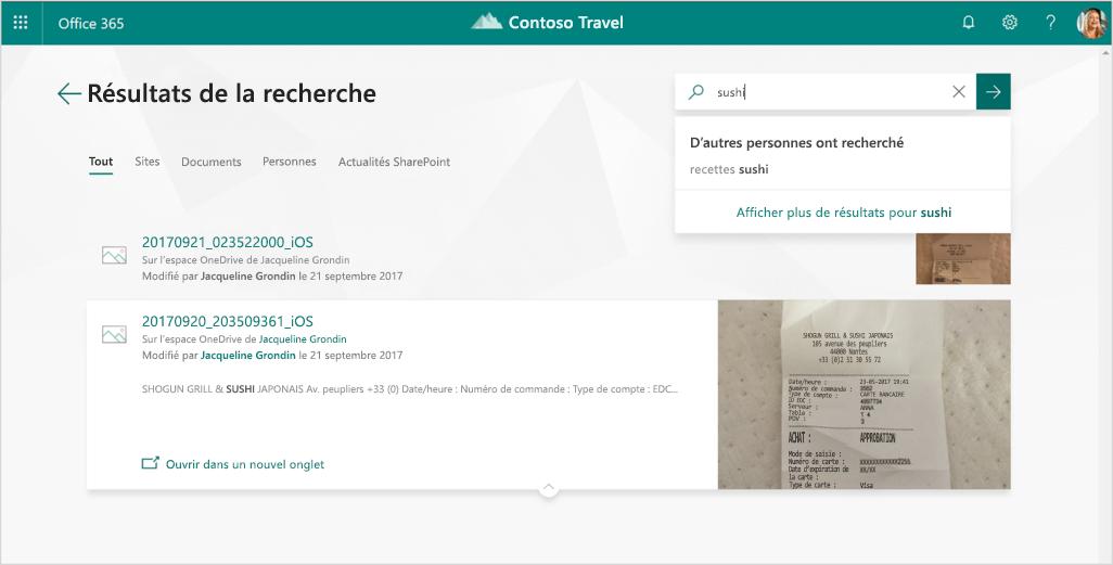 Capture d'écran montrant les résultats d'une recherche d'un reçu contenant le mot « sushi » dans Office 365.