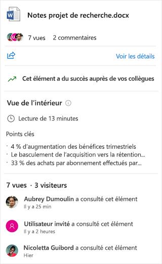 Capture d'écran de la section « Aperçu » d'un document Word, montrant les points clés et le temps nécessaire à la lecture du document.
