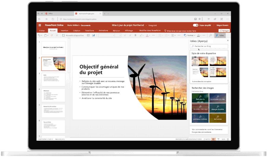 Image animée montrant un ordinateur portable déplié sur lequel la fonctionnalité Idées est utilisée dans PowerPoint.