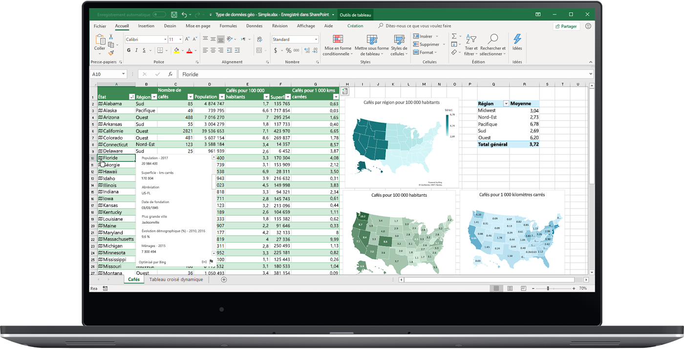 Image montrant le type de données Géographie dans Excel.