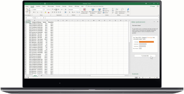 Image montrant les Idées dans Excel.
