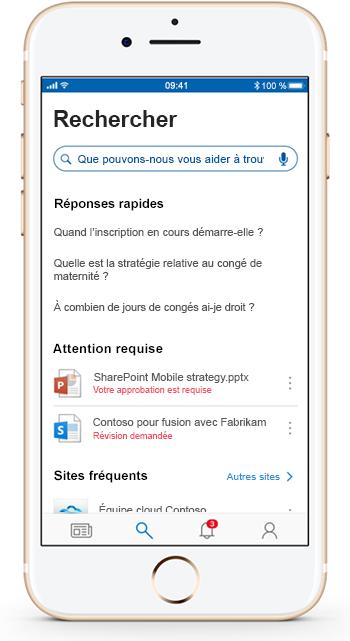 Image montrant l'application mobile SharePoint exécutée sur un appareil mobile.