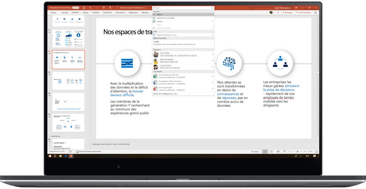Image montrant un ordinateur portable déplié et affichant une présentation PowerPoint dans laquelle Recherche Microsoft est utilisé.