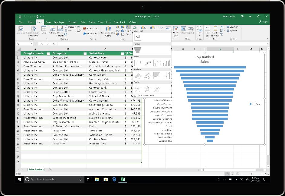 Image montrant un appareil qui exécute Excel dans Office 2019.