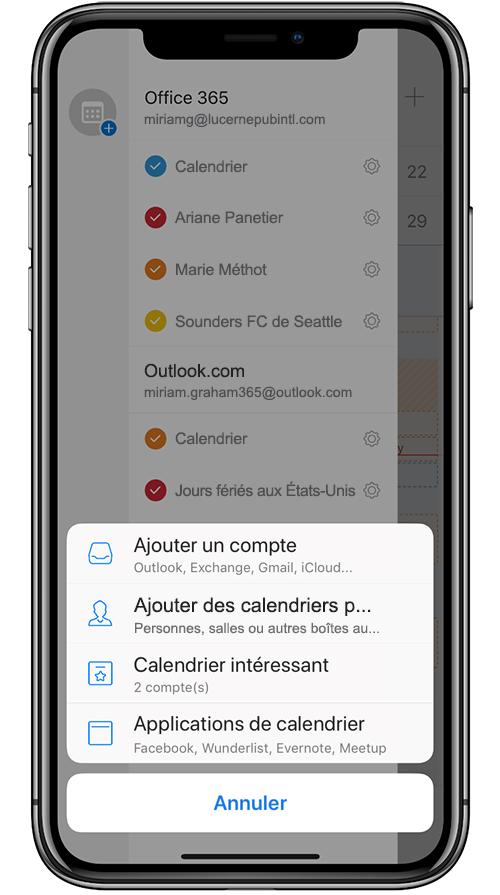 Image d'un appareil mobile ajoutant un calendrier partagé dans Outlook Mobile.