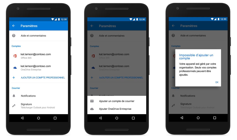 Image de trois appareils affichant un compte ajouté dans Outlook Mobile.