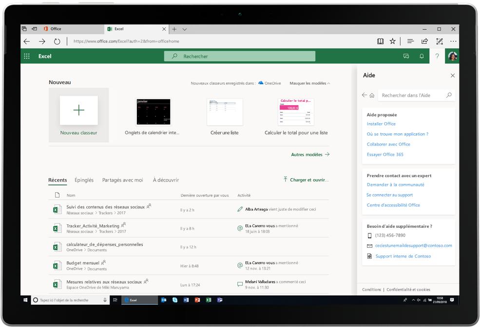 Une capture d'écran présente un onglet Excel ouvert dans Office Online.