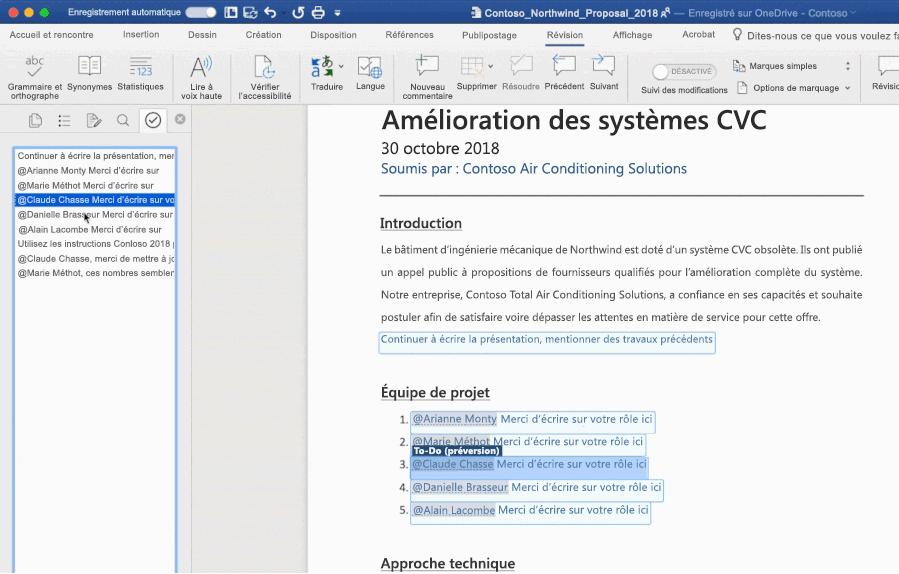 Capture d'écran d'un document Word ouvert utilisant la fonctionnalité To-Do optimisée par l'intelligence artificielle.