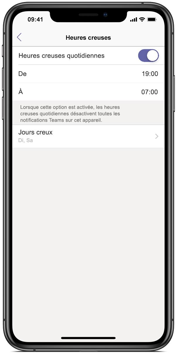 Image d'un écran de smartphone affichant Microsoft Teams, avec l'option Ne pas déranger définie entre 19 et 7 heures