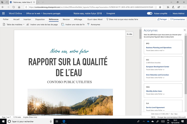 Capture d'écran du volet Acronymes ouvert dans Microsoft Word.