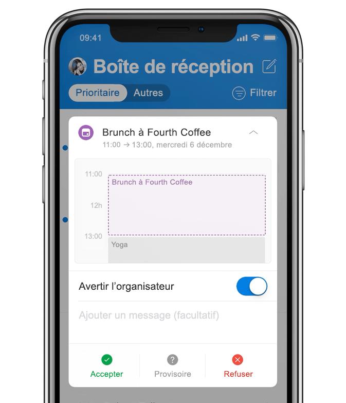 Image animée d'un smartphone montrant un utilisateur en train d'ajouter un brunch à son calendrier.