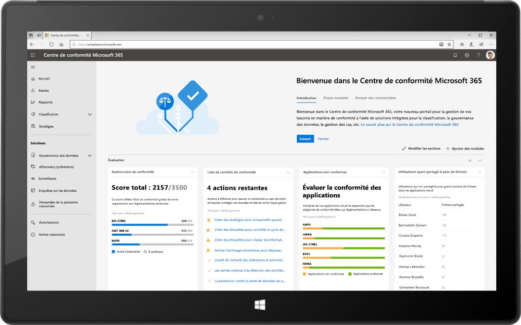 Image d'une tablette affichant le nouveau Centre de conformité Microsoft 365.