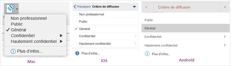 Capture d'écran de la liste déroulante d'options de sensibilité des données affichée sur Mac, iOS et Android.