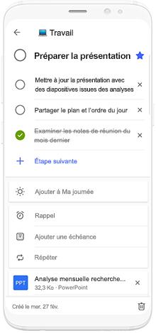 Illustration : téléphone utilisant Microsoft To-Do pour planifier le temps de préparation d'une présentation.