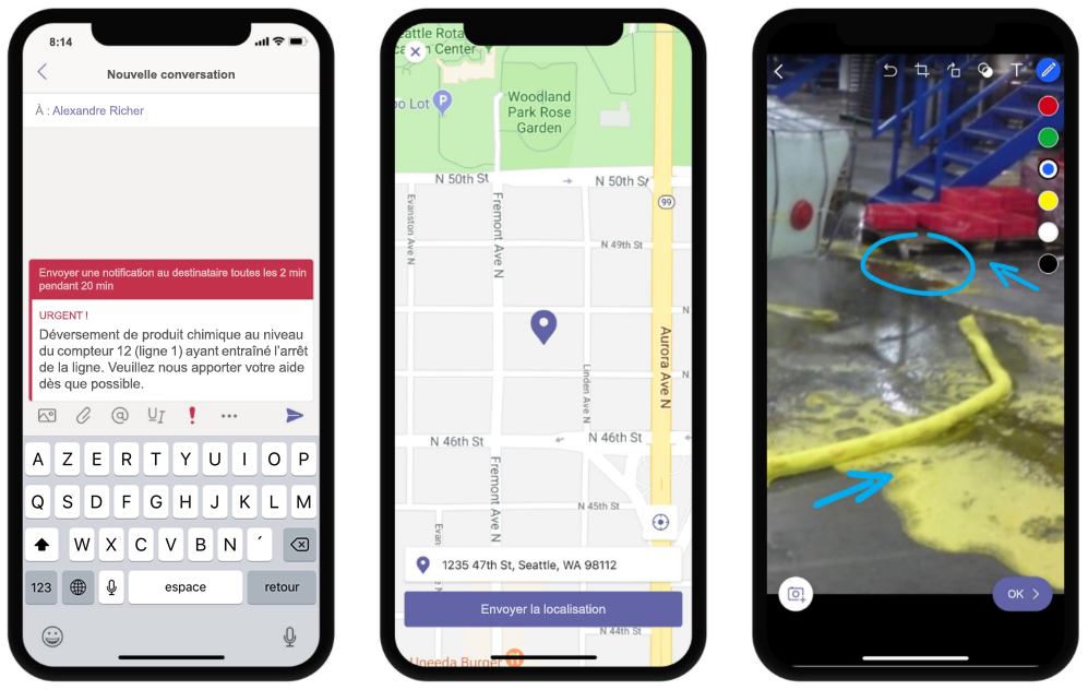 Image de trois téléphones affichant les fonctionnalités de messagerie d'urgence, partage de localisation et annotations d'image dans Teams.